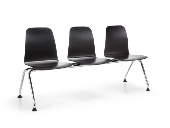 Profim Com Waiting and Reception Area Bench Seating 3 Seater with Chrome Frame