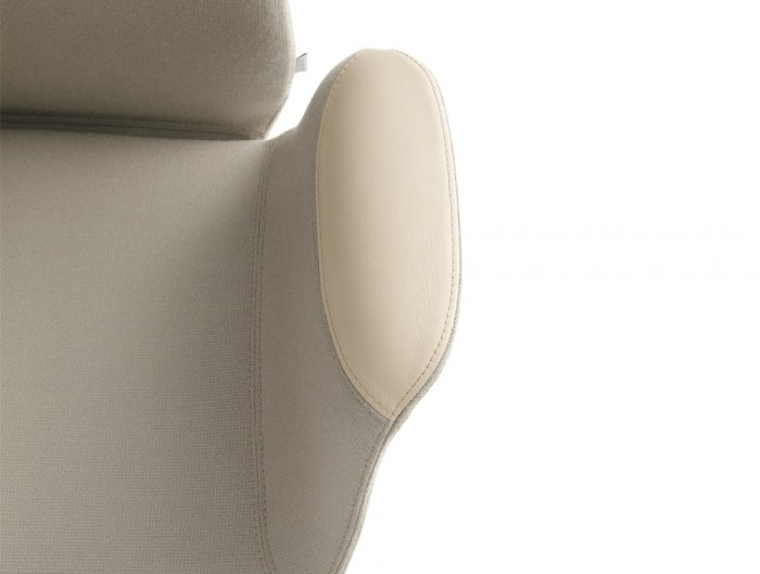 Profim Ellie Armchair Soft Seating Upholstered Seat and Leather Armrests in Beige Colour Finish
