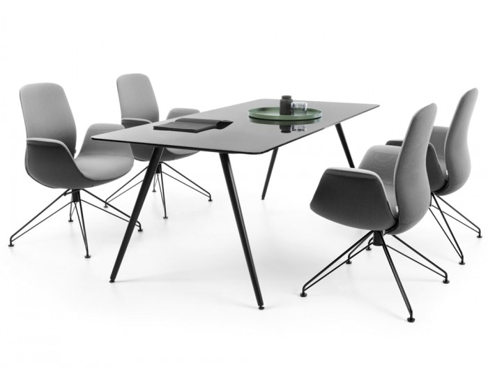 Profim Ellie Elegant Meeting Room Armchair in Grey with Wire Frame with Glass Table