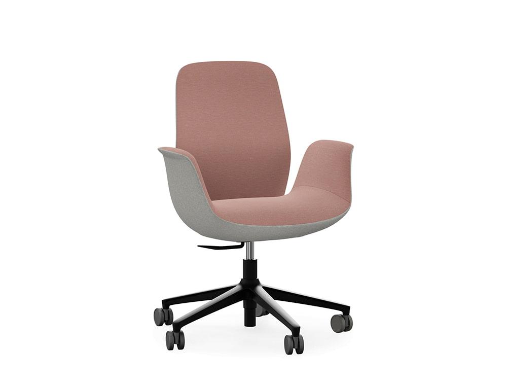 Profim Ellie Ergonomic Office Chair Low Backrest Armrest with Black Frame Base and Castors