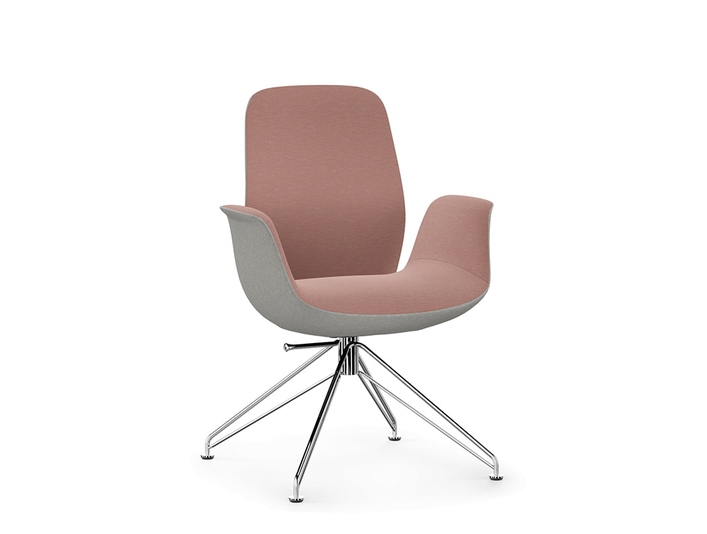 Profim Ellie Executive Armchair Low Back in Grey and Pink with Chrome Wire Base