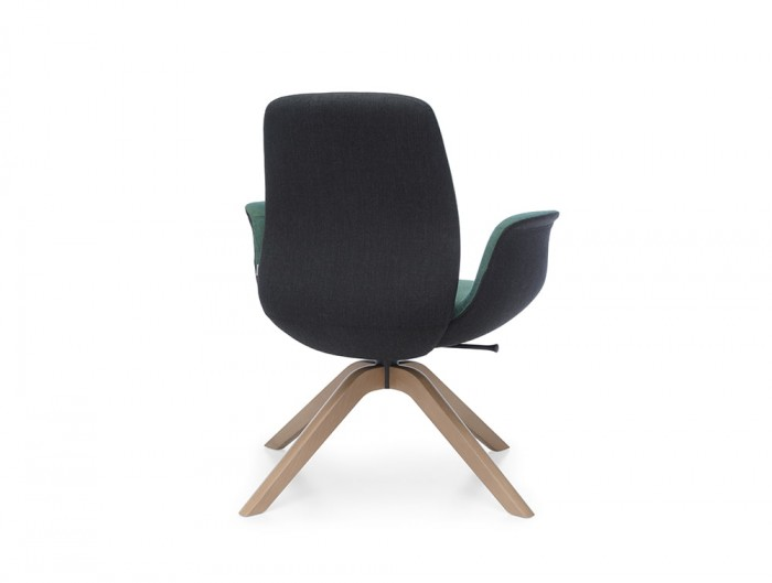 Profim Ellie Lounge Chair Bicolour Shell Green and Black with Wooden 4 Legs Base