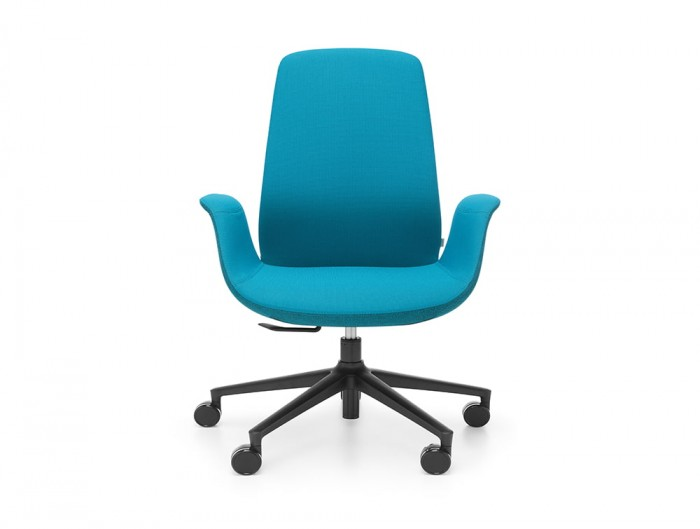 Profim Ellie Lounge Swivel Armchair in Blue Upholstered Seat with 5 Star Base with Castors in Black