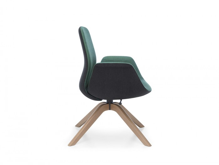 Profim Ellie Low Back Swivel Armchair for Reception Area with Wooden Legs