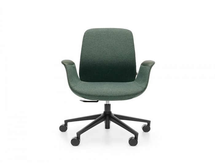 Profim Ellie Low Back Swivel Chair for Modern Office with Castors and Armrest in Green Leather