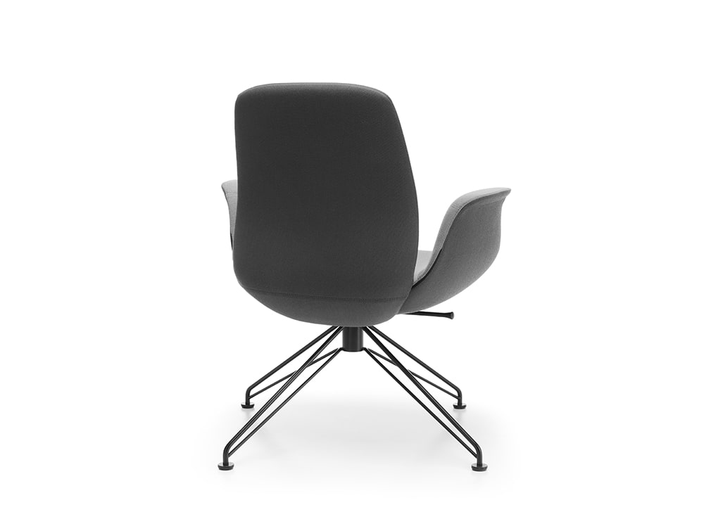 Profim Ellie Low Back Swivel Chair for Reception Area with Black Frame and Glides