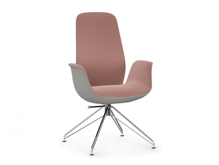 Profim Ellie Meeting Room Comfy Armchair in Pink and Grey Uhpholstery Fabric with Wire Frame in Chrome Finish