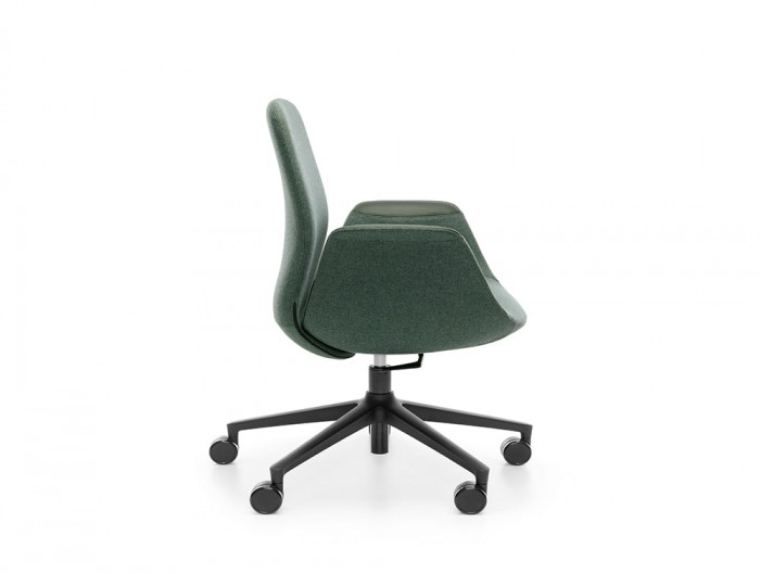 Profim Ellie Office Armchair with 5 Star Base with Castor Wheels and Armrests in Leather