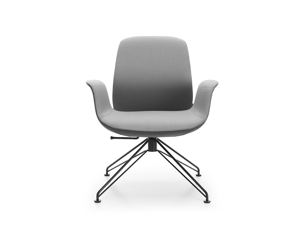 Profim Ellie Office Lounge Chair with Armrests in Grey and Black Wire Base