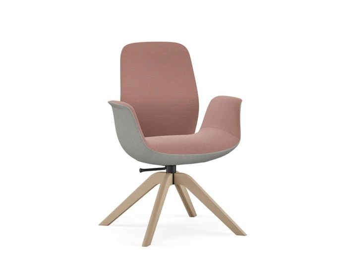 Profim Ellie Soft Seating Armchair in Pink and Grey with Low Back and Wooden Legs