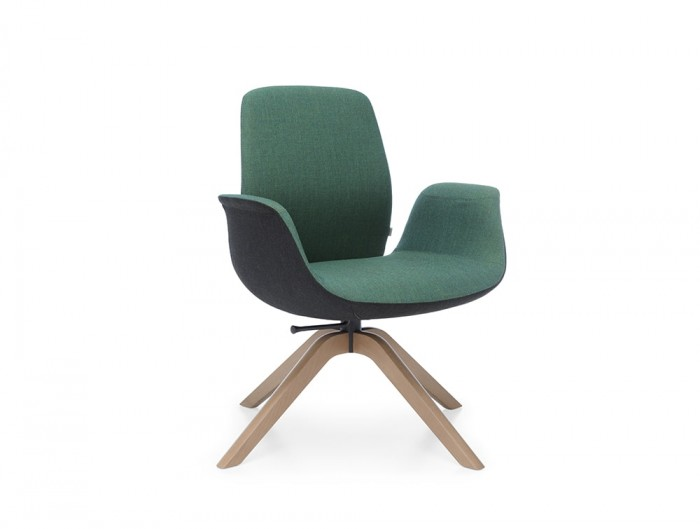 Profim Ellie Soft Seating Chair in Dark Green Fabric Colour with Wooden Legs