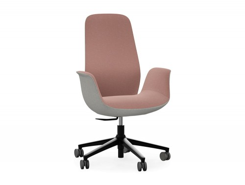 Profim Ellie Swivel Comfy Office High Back Chair in Pink and Grey with Armrests 5 Star Base Frame in Black with Castors