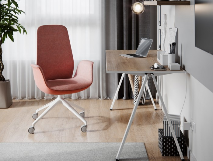Profim Ellie Swivel Home Office Chair in Red and White Frame with Desk
