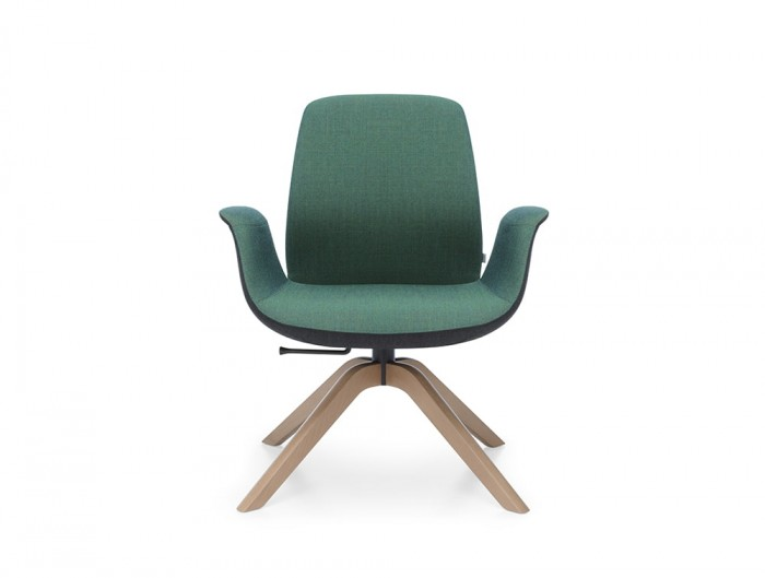 Profim Ellie Swivel Lounge Armchair in Green Upholstered Shell Seat with Natural Wooden Base