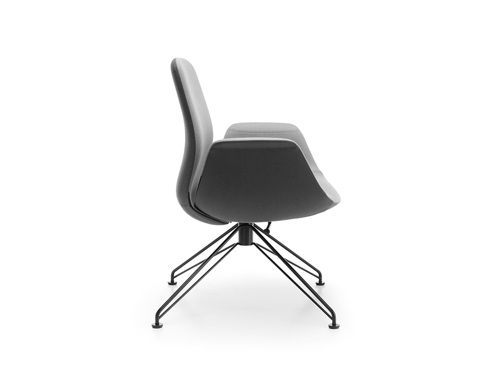 Profim Ellie Swivel Lounge Chair Bicolour Black and Grey for Executive Style