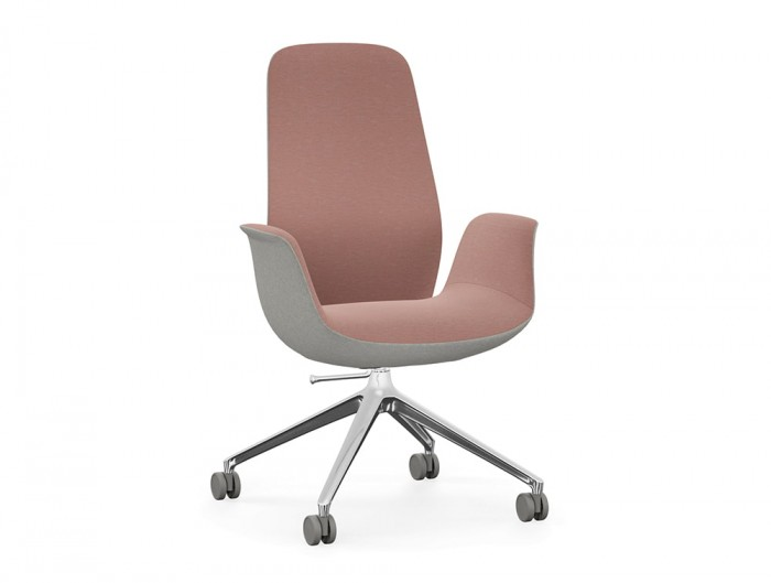 Profim Ellie Swivel Office Armchair High Back in Pink and Grey with 4 Star Base and Castors Wheels in Chrome Finish