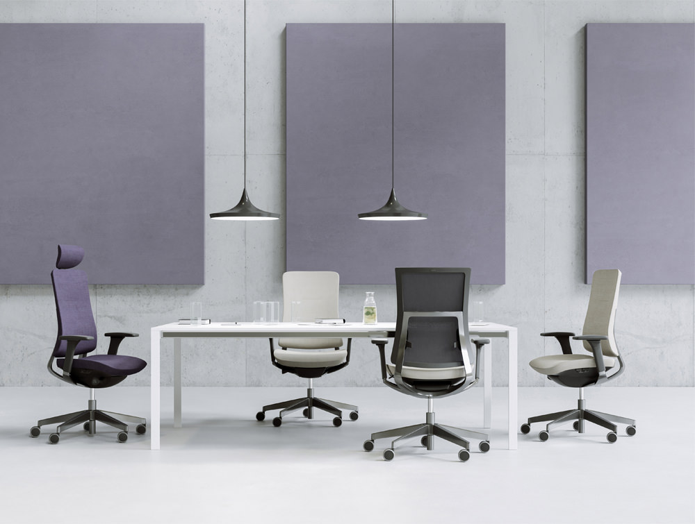 Profim Executive Office Chairs with Castors with or without Headrests and Armrest Adujstable or Fixed Wall Mounted Acoustic Panels
