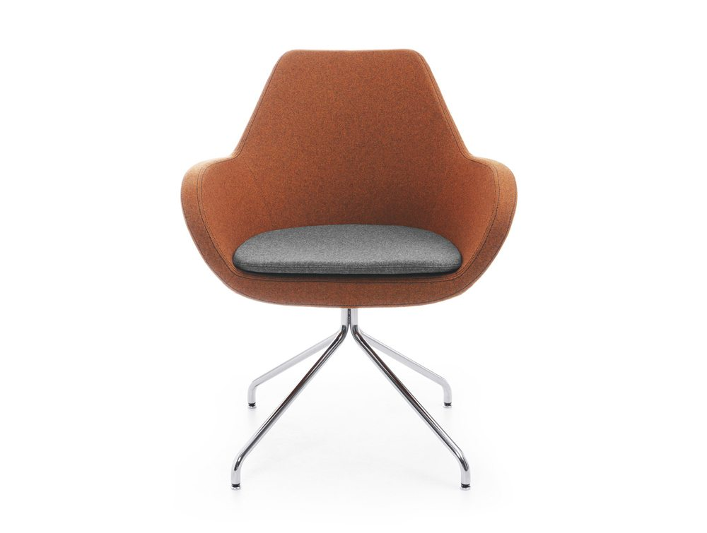 Profim Fan Armchair in Orange with Grey Cushion