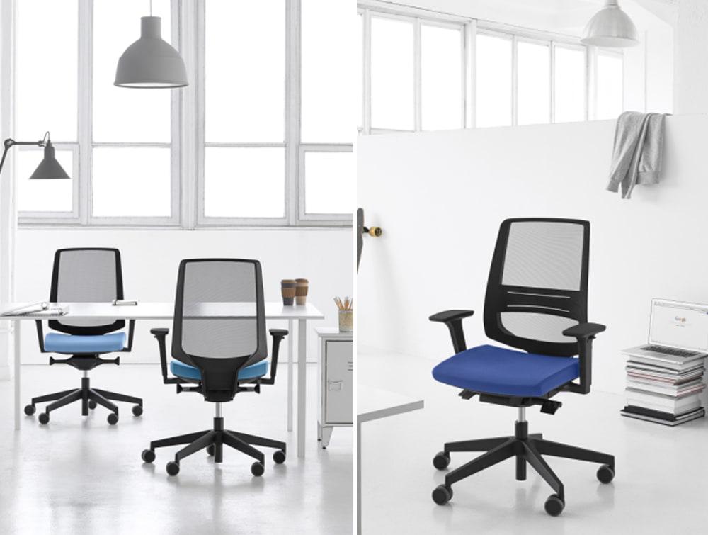 Profim LightUp Upholstered Ergonomic Armchair Mesh Backrest for Office Desk Metal Pedestal
