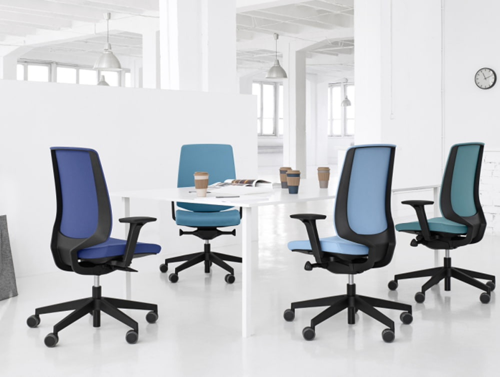 Profim LightUp Upholstered Ergonomic Armchair in Black Frame and Shades of Blue Meeting Table