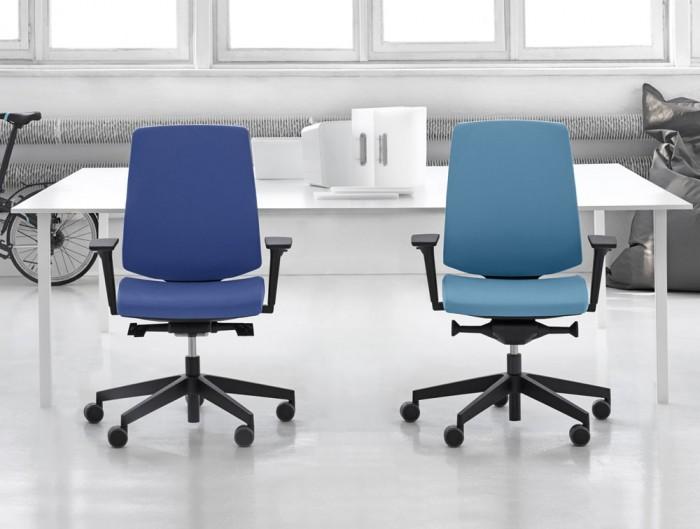 Profim Lightup Ergonomic Office Chair in Blue Upholstered