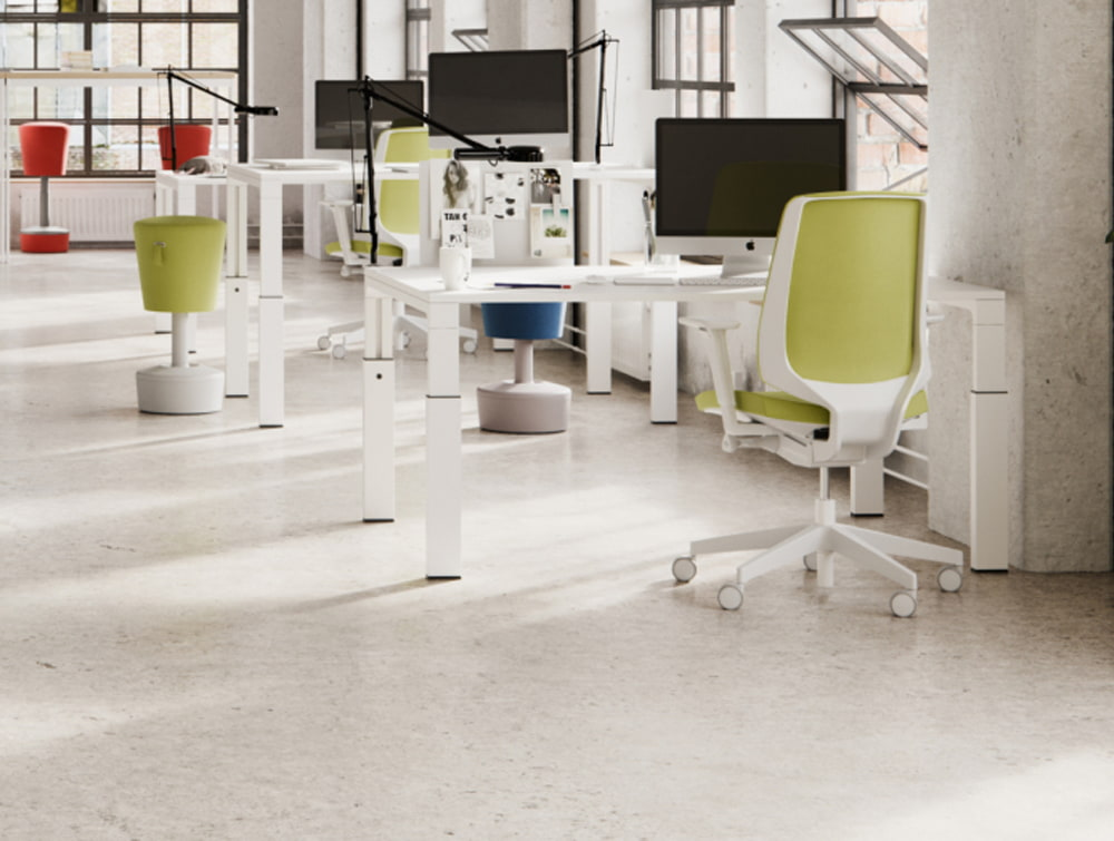 Profim Lightup Upholstered Ergonomic Armchair Green and White Frame with Red Mickey Pouffe Movement Chair