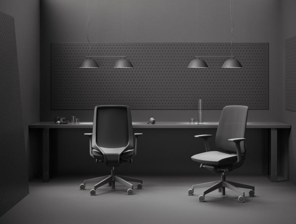 Profim Lightup Upholstered Ergonomic Armchair Upholstered in Black Finish with Ceiling Lighting