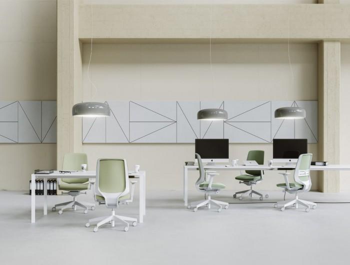 Profim Lightup Upholstered Ergonomic Armchair for Open Space Office with Ceiling Lighting