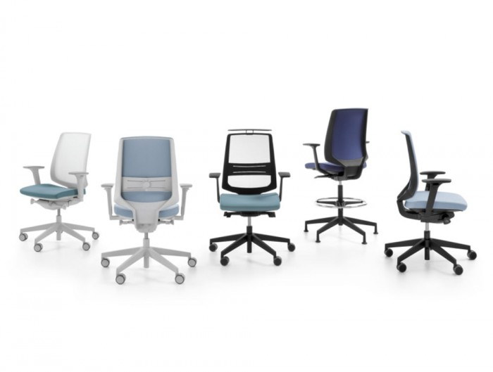 Profim Lightup Upholstered and Mesh Egonomic Armchair with Castors in Blue Finish