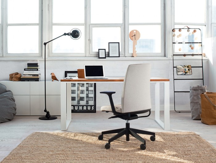 Profim Motto Ergonomic Chair for Modern Office or Home with White Storage Desk with Wooden Tabletop
