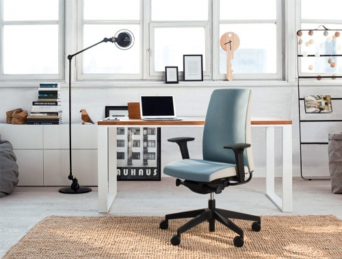 Profim Motto Ergonomic Home Office Chair in Upholstered Blue and Black Castors with Modern Table and Metal Freestanding Light