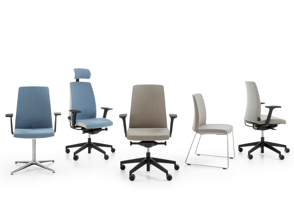 Profim Motto Office Chair Range with Swivel or Skid Base Armresr or Headrest