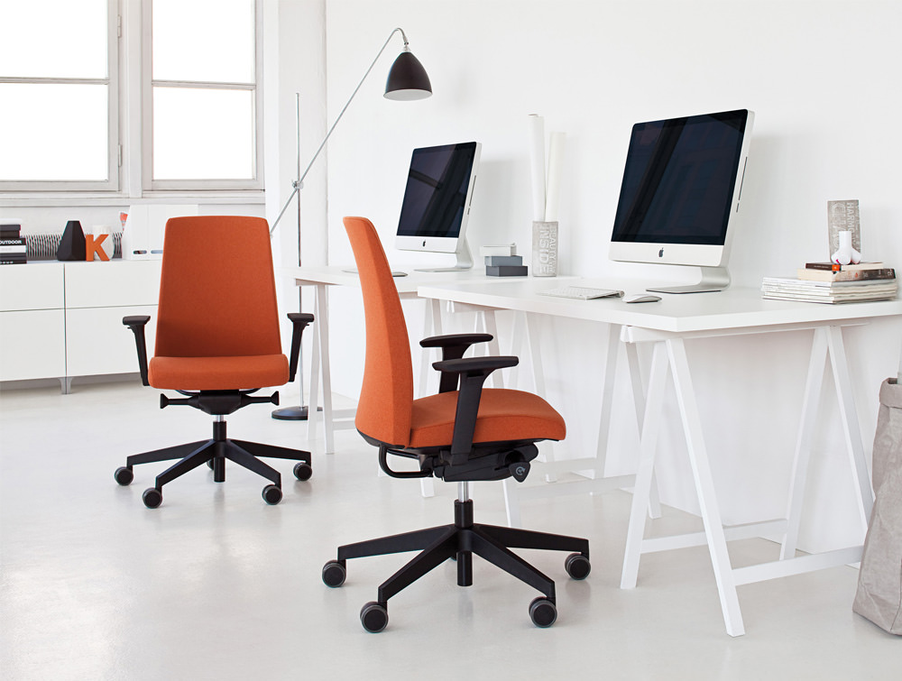 Profim Motto Office Chair for Modern Space in Orange with Scandinavian Table and Freestanding Light