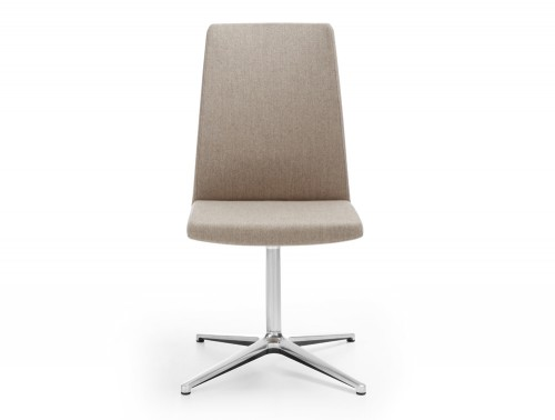 Profim Motto Swivel Chair for Meeting Room in Beige with Chrome Frame