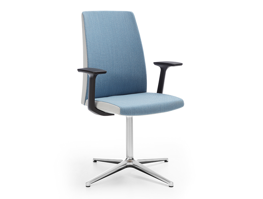 Profim Motto Swivel Chair for Meeting Room in Blue and Grey with Chrome Frame and Black Armrest