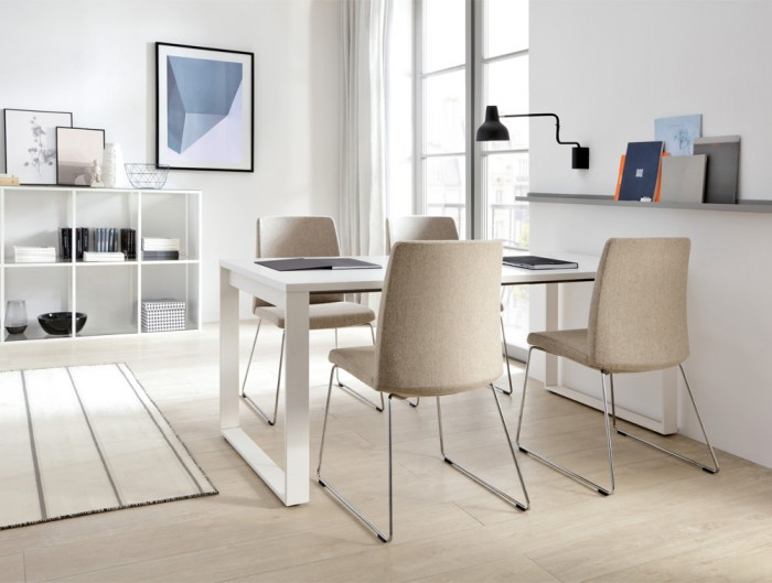 Profim Motto Visitor Chair with Skid Base Upholstered Beige with Scandinavian Furniture Bookcase and Table in White