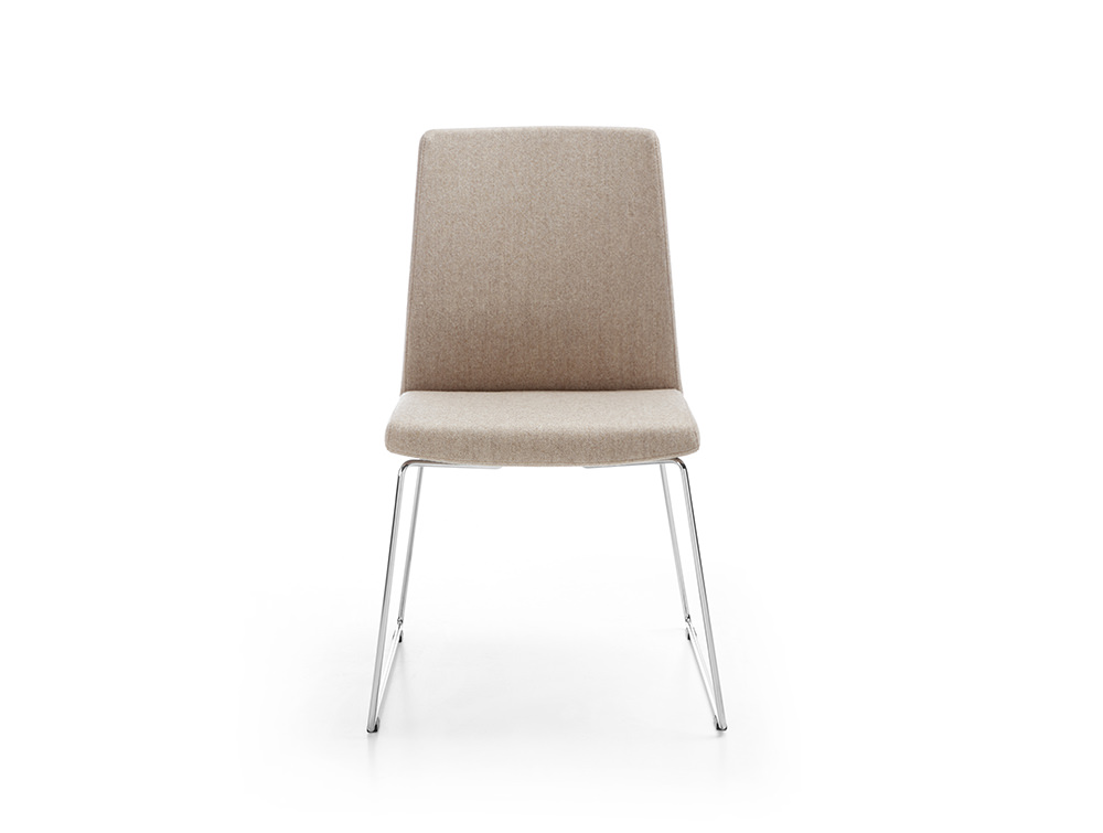 Profim Motto Visitor Chair with Skid Chrome Base Upholstered Seat in Beige