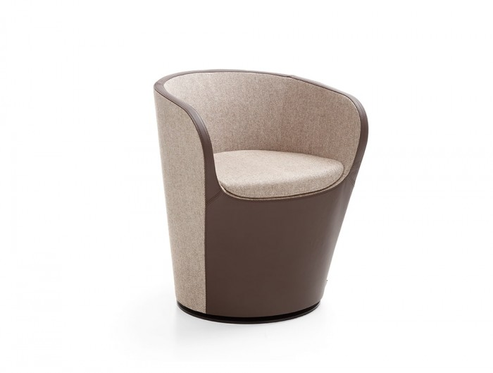 Profim Nu Spin Soft Seating Armchair in Brown Finishes with Metal Round Base in Black with Gas Lift
