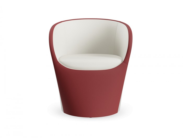 Profim Nu Spin Tub Chair in Bicolour Leather for Reception Area or Hotel
