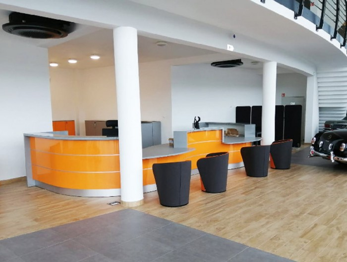 Profim Nu Spin Tub Chair in Reception Area With Counter Desk