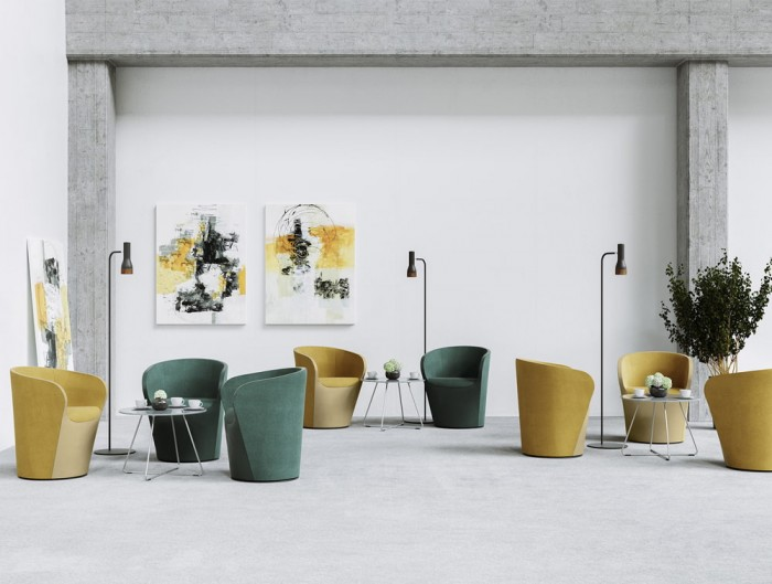 Profim Nu Spin Upholstered Armchair for Reception Areas in Yellow and Green Colour Finishes with Freestanding Lighting and Low Round Cafe Table