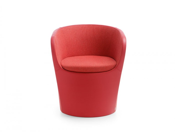 Profim Nu Spin Upholstered Armchair in Red Soft Upholstery Fabric and Leather