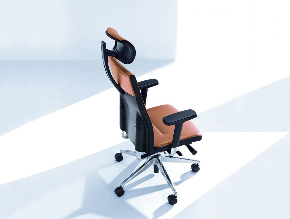 Profim one ergonomic chair with user backbone based adjustable backrest with headrest view from above