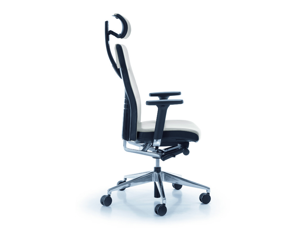 Profim one ergonomic chair with user backbone based adjustable backrest with headrest side angle