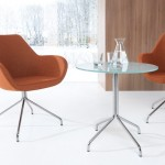 Profim SH Table with Metal Legs in Tempered Glass