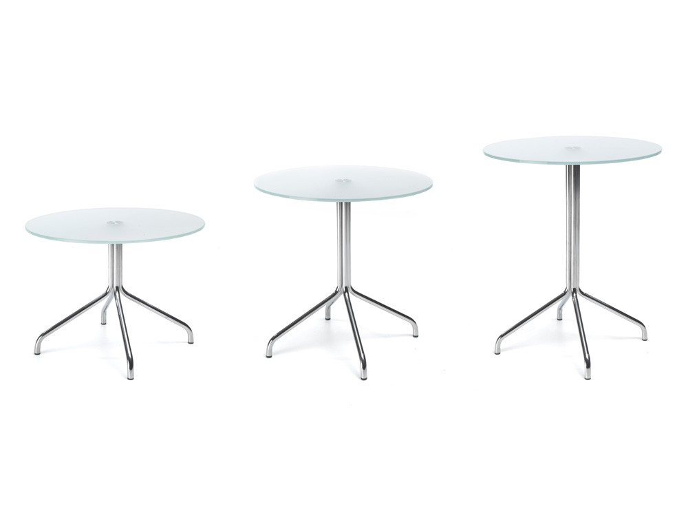 Profim SH table with metal legs in tempered glass available heights