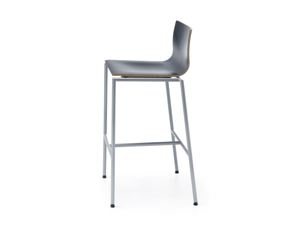 Profim Sensi Bar Stools in Black with Metal Legs Side Angle