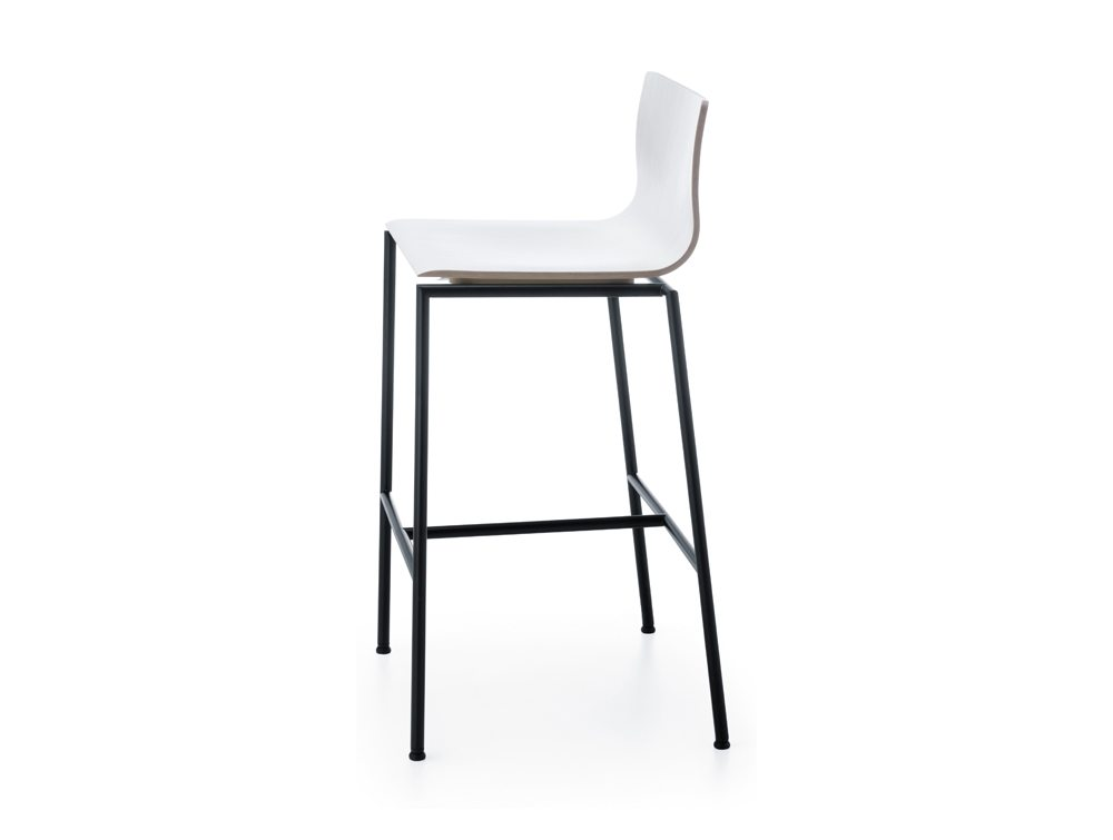 Profim Sensi Bar Stools in White with Black Legs Side Angle