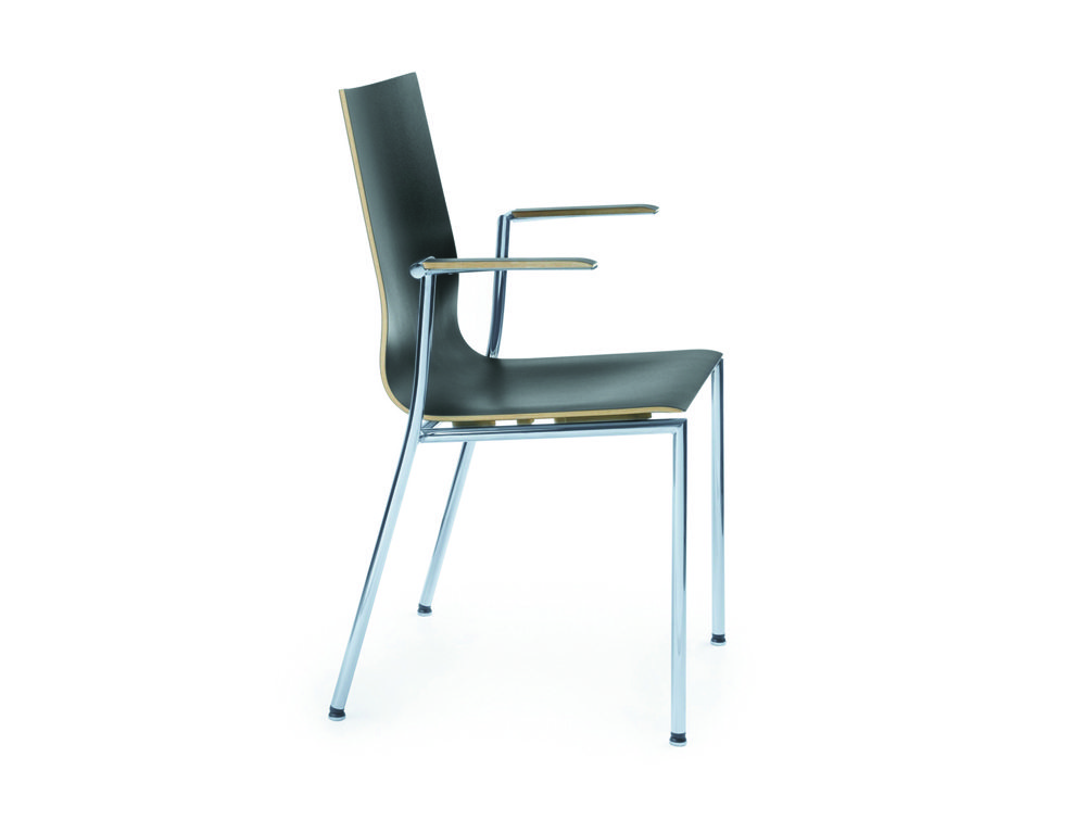 Profim Sensi Conference Chair Chrome Legs with Armrest Side Angle