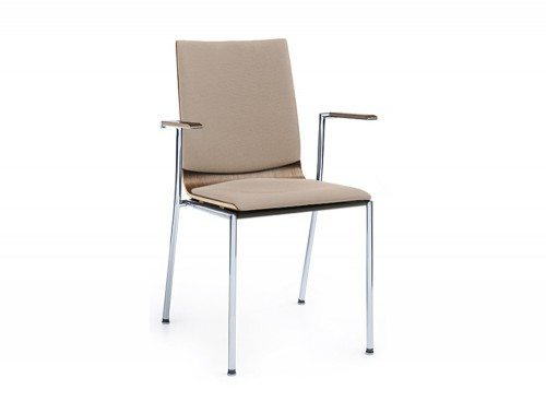 Profim Sensi Conference Chair with Armrest Chrome Legs Side Angle